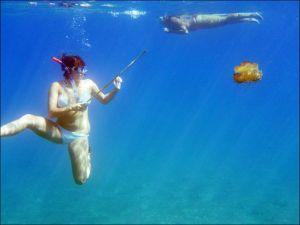 Na medúzy jsme se v Řecku vybavili bambusovou tyčí.