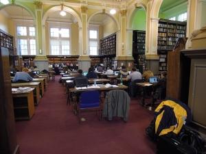Studovna univerzitní knihovny, kde studujeme všechny možné jachtařské knihy.