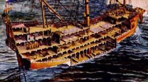 Grafický náhled do prostorů lodě.