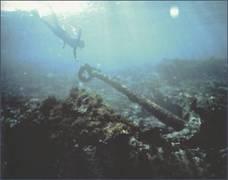 Kotva z vraku Batavia stále leží na dně moře.