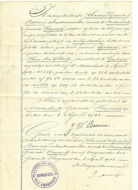 certifikát potvrzující vyrobení lodi Spes Mea a její charakteristiku